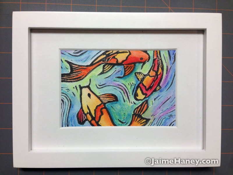 Hand Embellished Koi Fish Monoprint shown in mat & frame (not included)