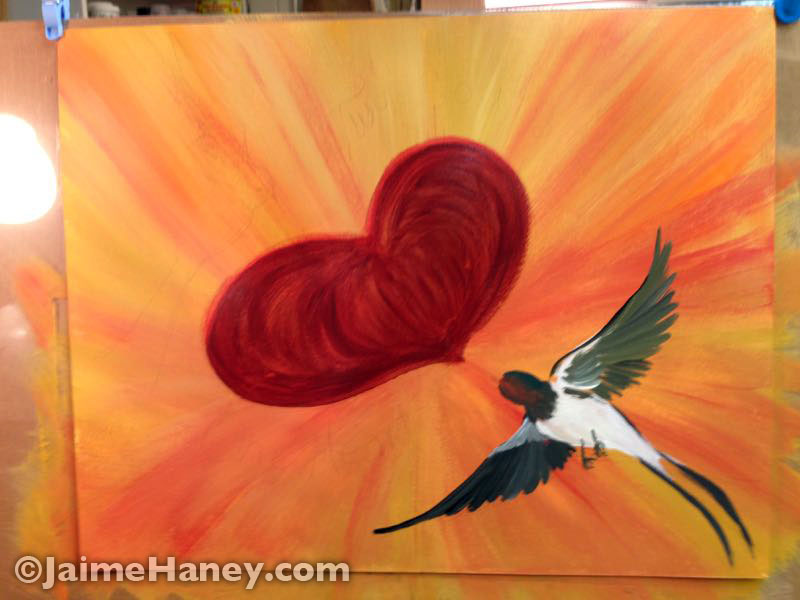 swallow and heart added to painting