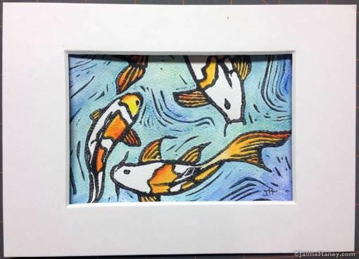 Koi fish hand pulled, hand embellished monoprint.