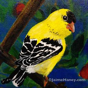 painting of a yellow and black gold finch on branch. little bird series