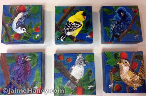 "series of six painted little birds on their own 4""x4"" canvas"