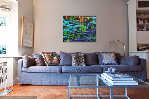 Mystical Mother Nature painting by artist Jaime Haney shown in living room