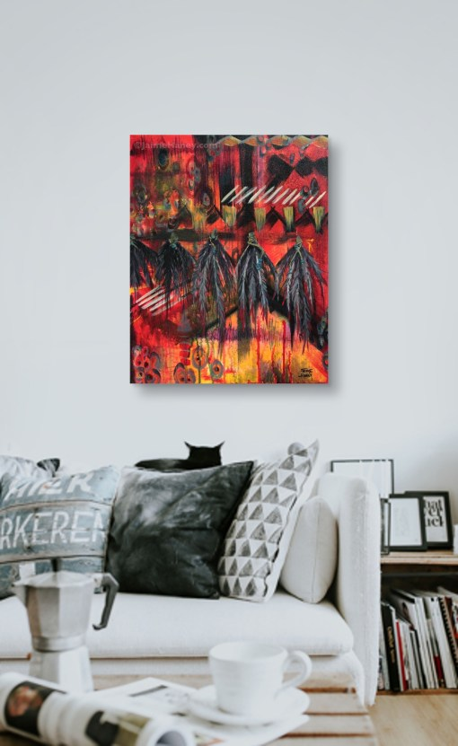 Spirit Voices painting by Jaime Haney shown in living space