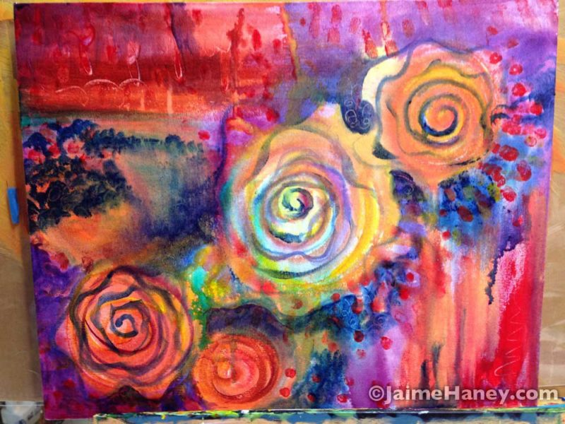 "Rose Mystique 20""x16"" acrylic painting work in progress"