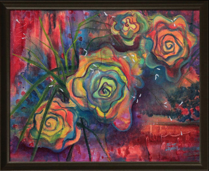 Rose Mystique painting shown framed