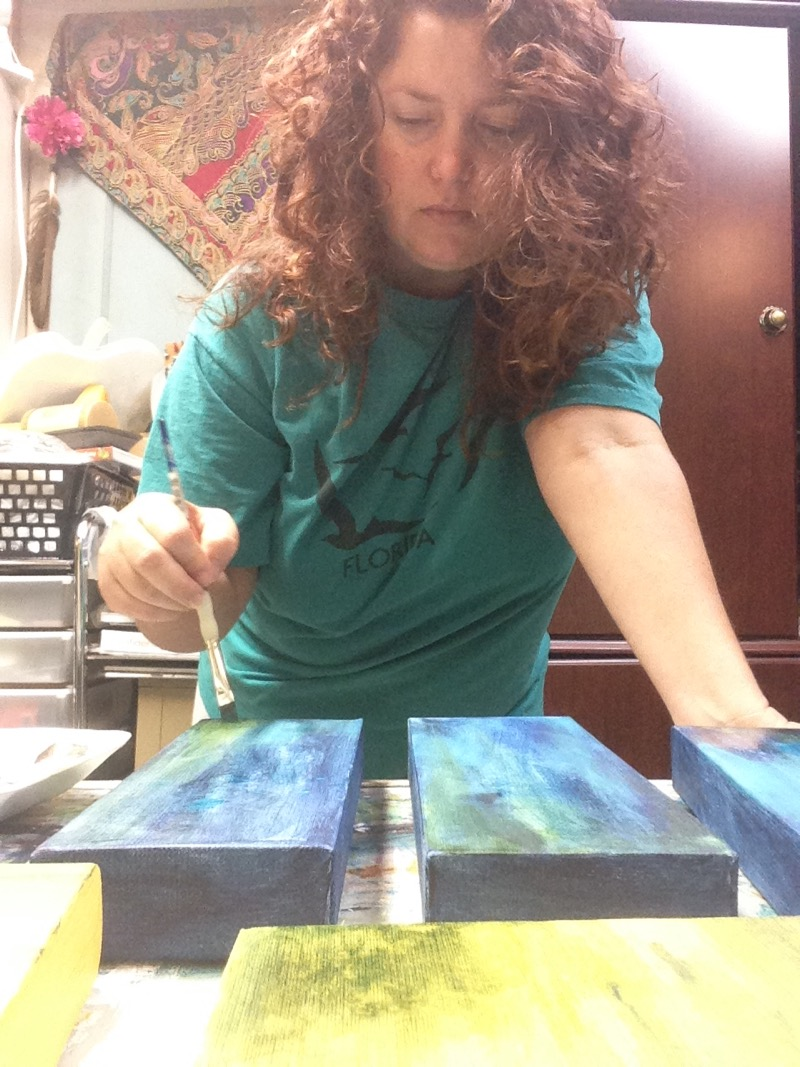 Jaime Haney working in her art studio