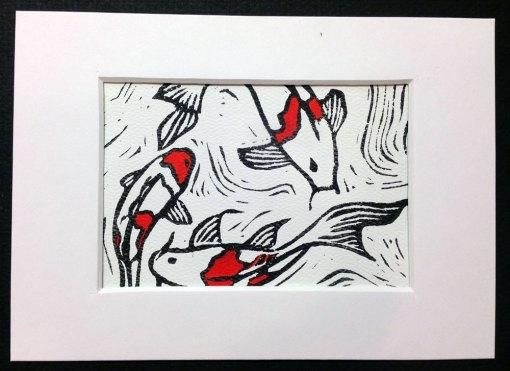 Koi Fish #2 block print in white mat