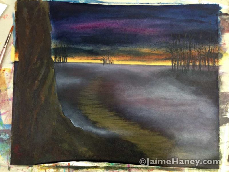 adding misty fog and trees in background