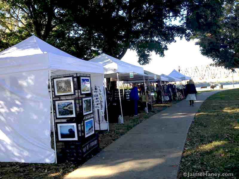 booths along sidewalk at DHP artisans market