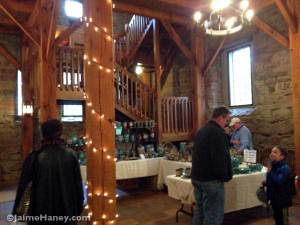 View of downstairs in the Rapp-Owen Granary during Christmas in New Harmony