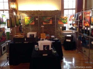 Art booth of Jaime Haney at the Artisans Market in Christmas in New Harmony