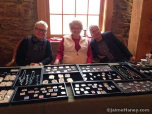Patti Blakeman, Virginia, Connie Tousley at the ARtisans Market at Christmas in New Harmony