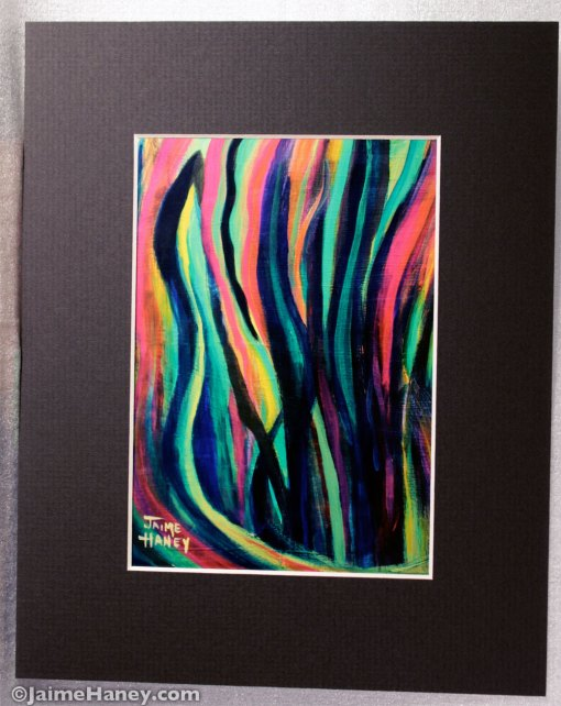 Cropped, matted reproduction of an abstract painting of the houseplant called mother in law tongue or sanseveria