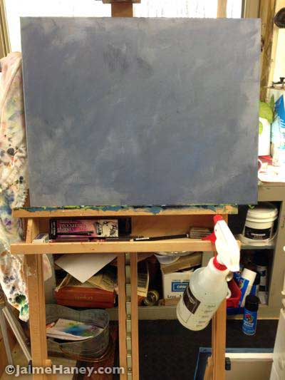 grayed canvas on the easel