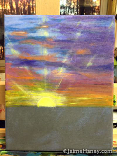 adding the sun and rays of light
