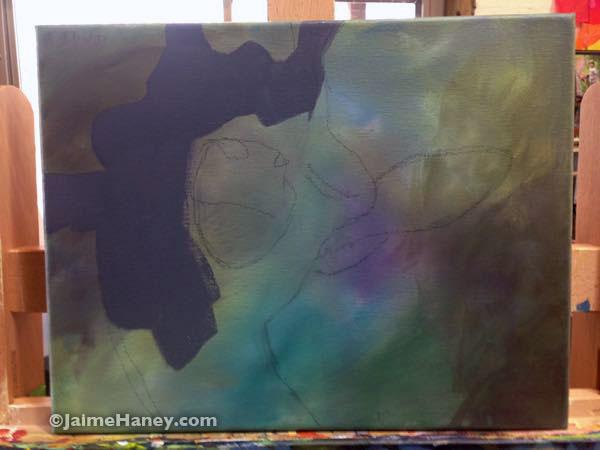 Beginning of blocking in giraffe painting
