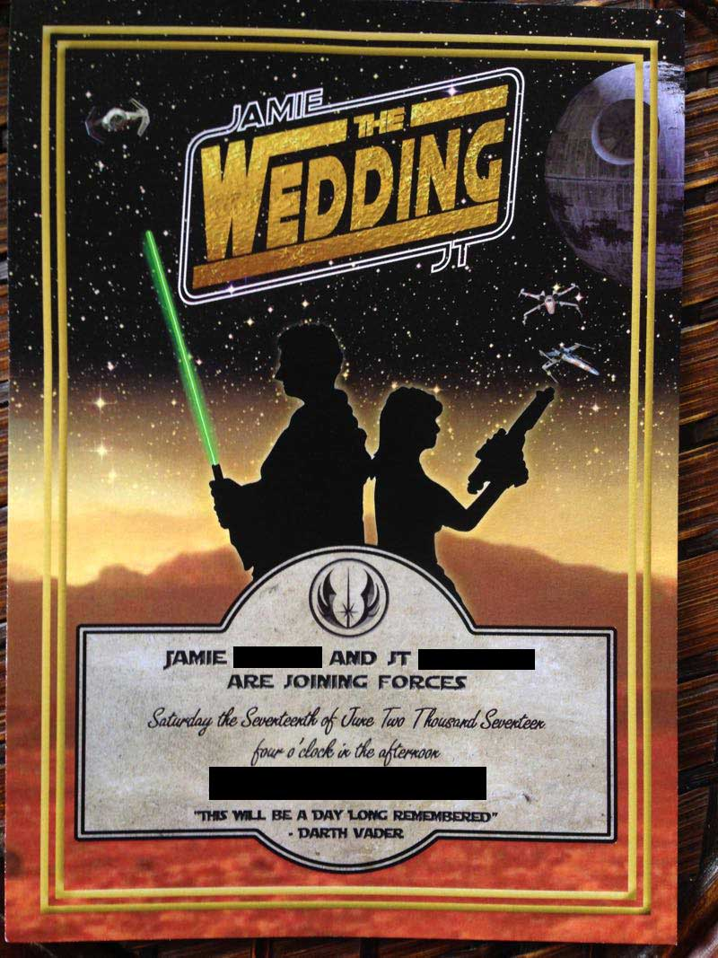 Star Wars themed wedding invitation