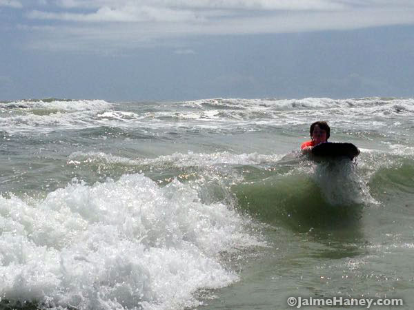 Boogey Boarding on the waves