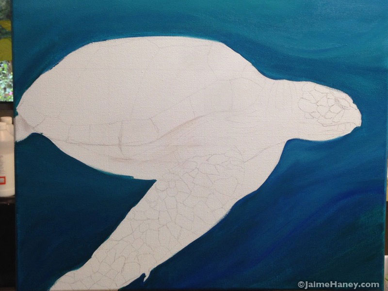 Sea Turtle painting sketch with background already painted