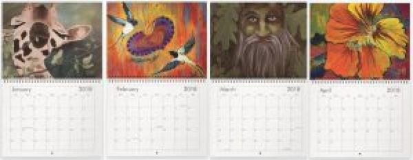 Art Calendars. Paintings for January, February, March and April