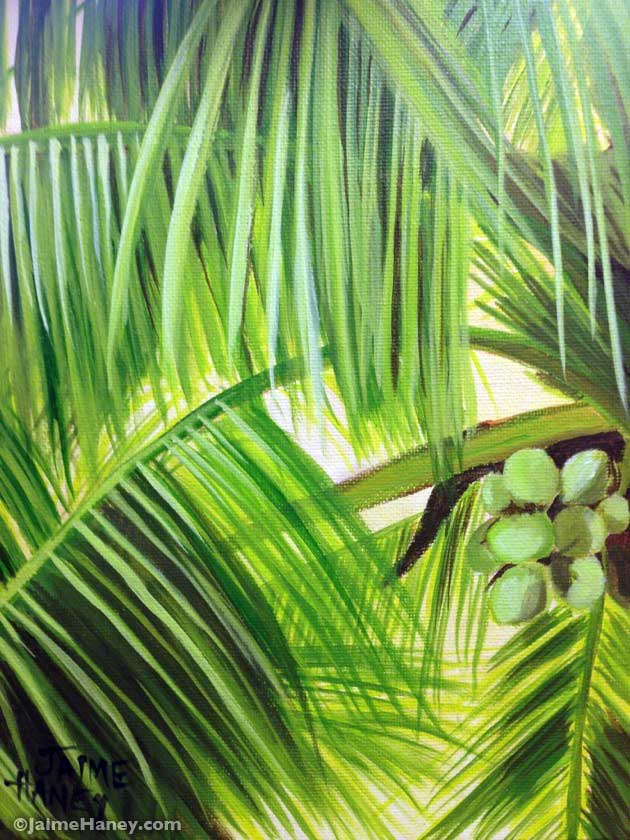 finished painting of a coconut palm tree
