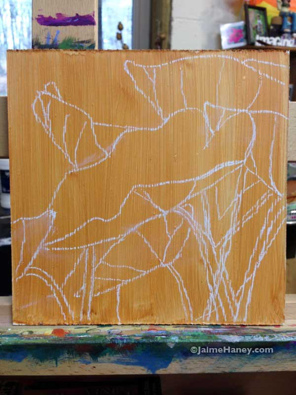 sketch of elephant ears on board before the painting