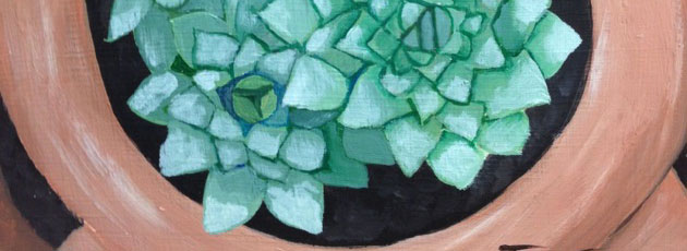 Day 20 Hen and chicks in Strawberry Jar painting