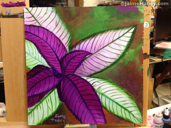 Persian Shield plant painting on my easel