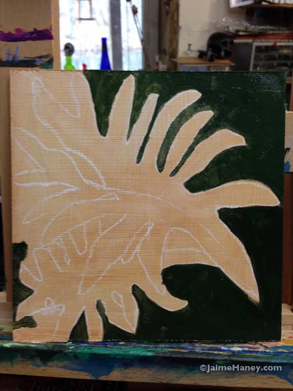 work in progress of painted philodendron