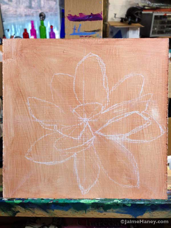 Sketch of Lotus flower for painting