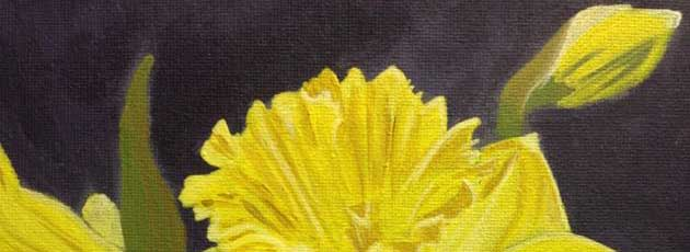 Painting spring with painted daffodils