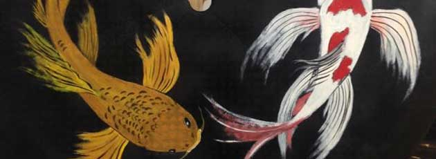 Koi Fish painting on upcycled patio table top
