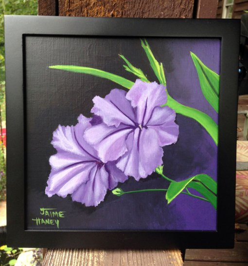 Purple Mexican petunia painting shown in black frame