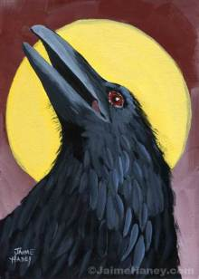 A regal looking raven with a yellow moon behind him.