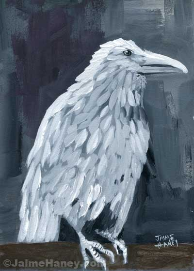 white raven painting on log