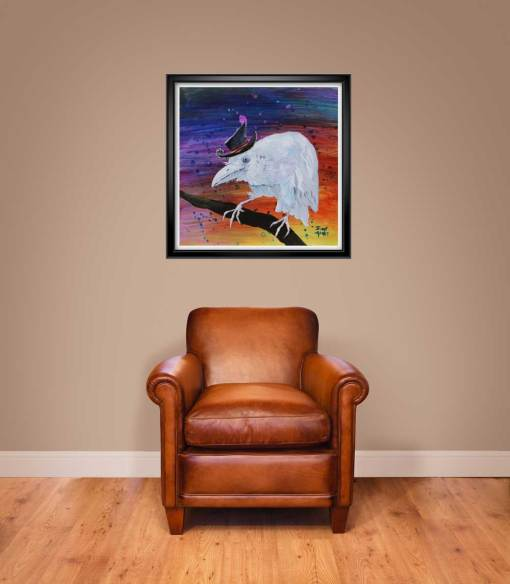 "24""x24"" Old Timer white raven print shown framed"