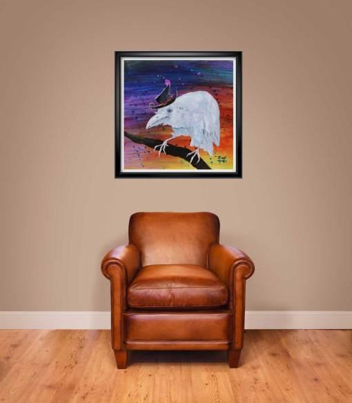 """24""""x24"""" Old Timer white raven print shown framed"""