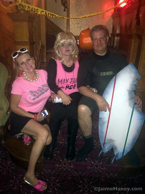 Barbie costume with Pop Art Girl and Surfer Shark attack victim