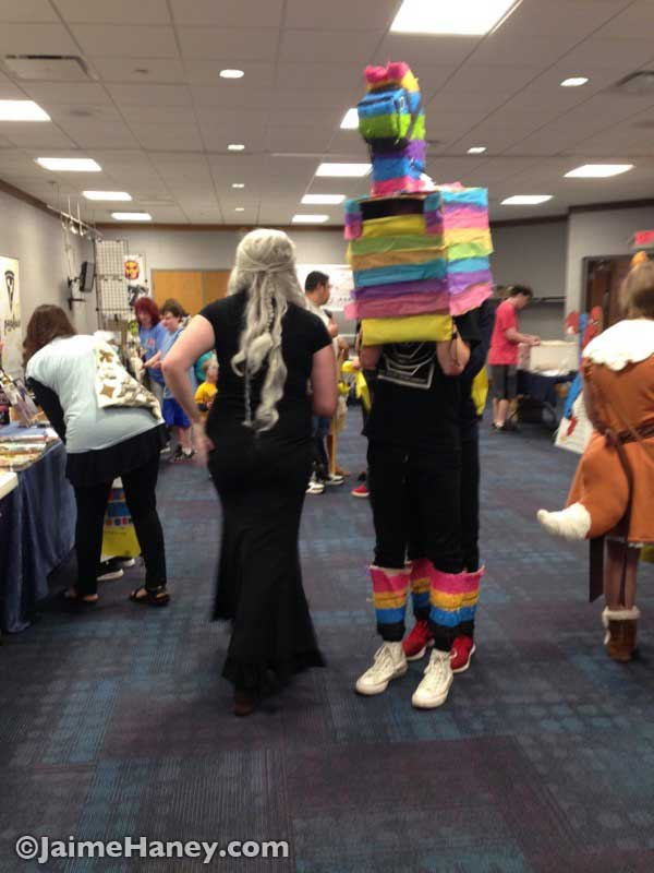Fortnite Llama and female cosplay character in the vendor area at Mini Con at Alexandrian Public Library