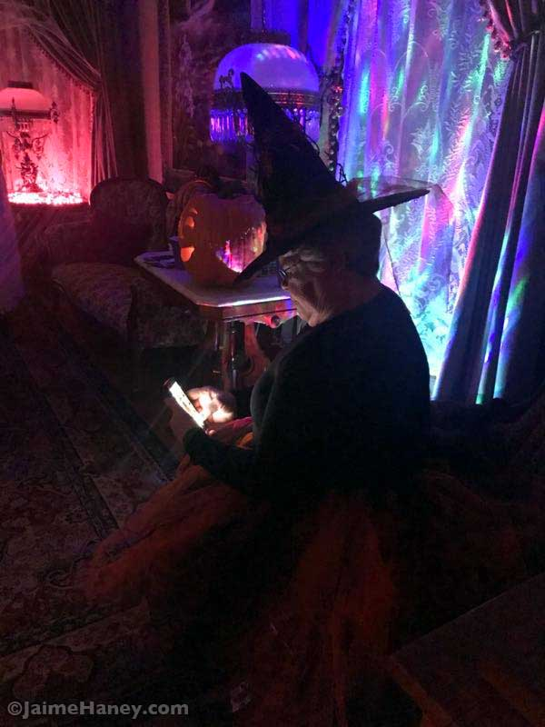 Witch on a phone