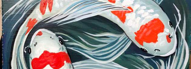 Swirling Water and Koi Fish painting and prints