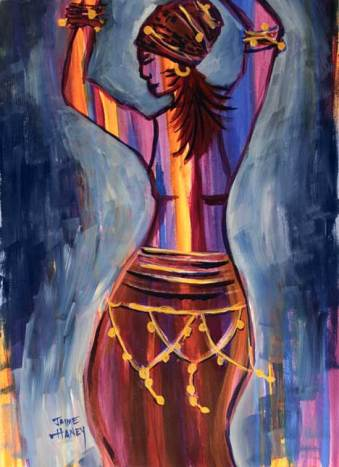 A woman dancing with arms up painting
