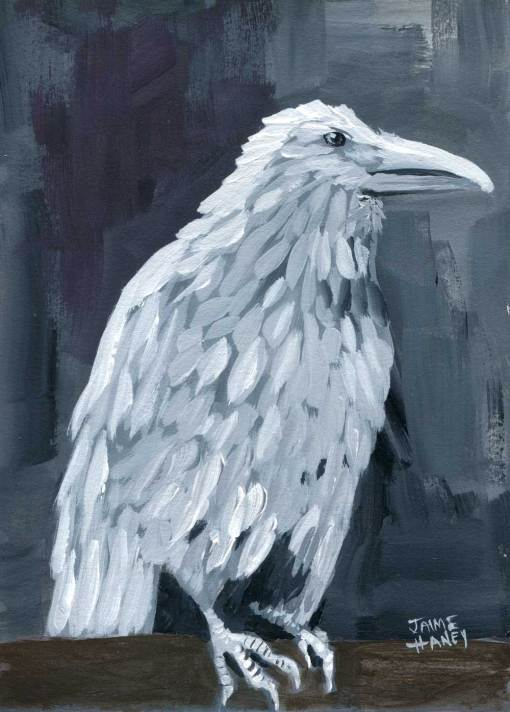 white raven painting