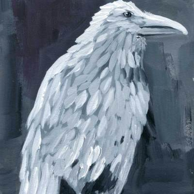 white raven painting