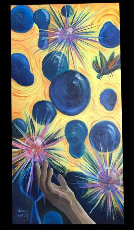 An original painting of a hand tossing magical sparkling spheres into the air by Jaime Haney