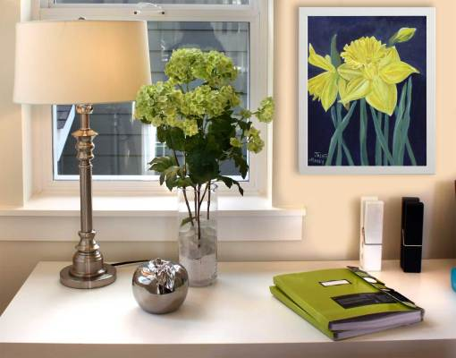 Yellow daffodils original painting by Jaime Haney shown in a home office setting.