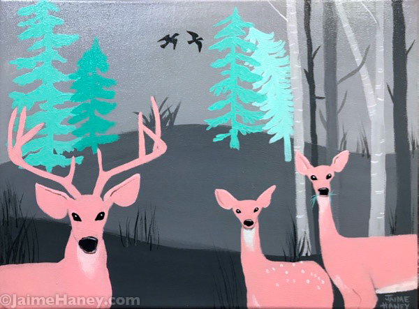 Finished Woodland Family painting of a deer family in the country.