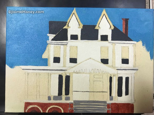 The work in progress painting of the historic Henry Cook mansion