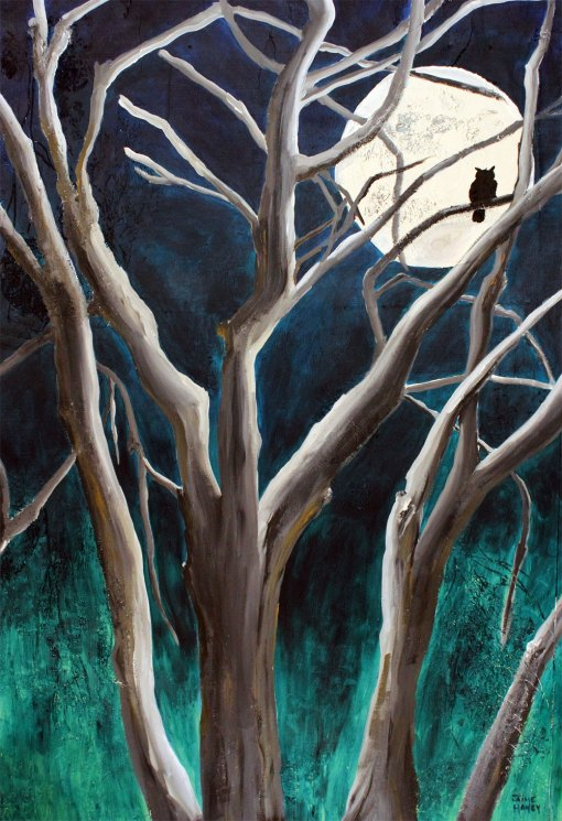 Aquarius Moon nocturn tree, moon and owl painting