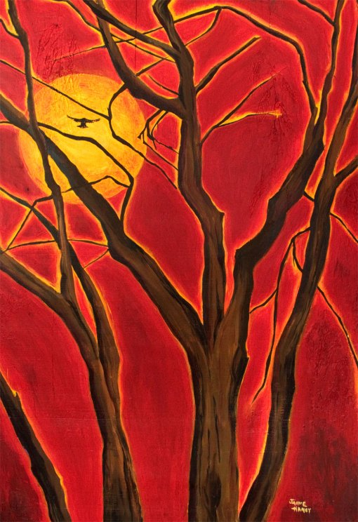 Art print of original painting of the blazing sun and a tree with a soaring bird.